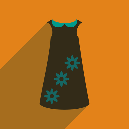 forties: Flat icon with long shadow dress