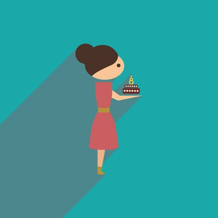 flat icon with long shadow girl with cake Illustration
