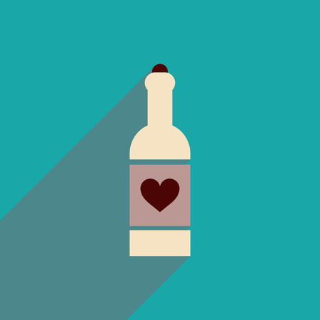 flat icon with long shadow heart bottle Illustration