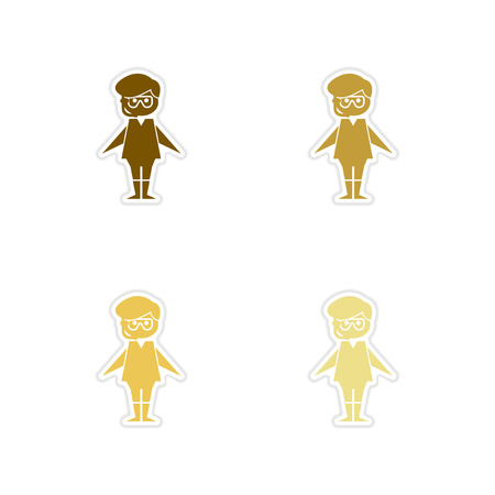 free diver: Concept of paper stickers on white background boy diving mask