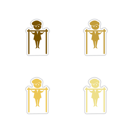and the horizontal man: Concept paper stickers on white background man horizontal bar