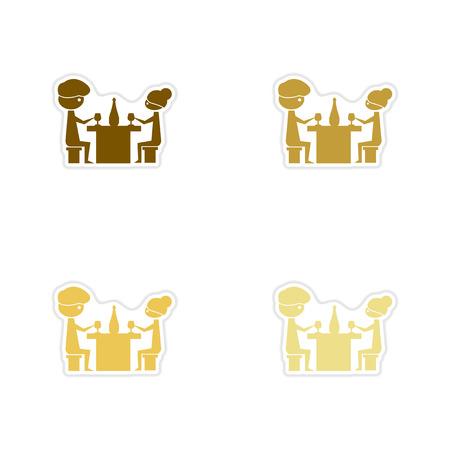 pareja comiendo: pegatinas de papel concepto de cena romántica de fondo blanco pareja Vectores