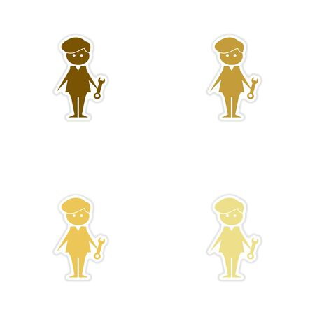 Concept paper stickers on white background male plumber