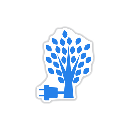 powered: paper sticker on white background eco energy Illustration