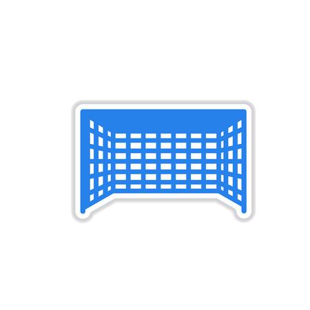 football goal: paper sticker on white background football goal Illustration