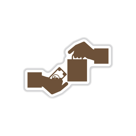 arms trade: paper sticker on white background hand money bag Illustration