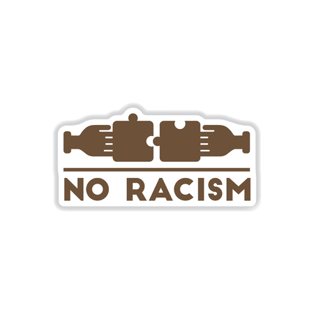 racismo: paper sticker on white background no racism Vectores