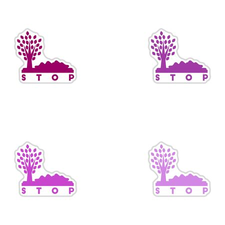 trash danger: Set of paper stickers on white background stop environmental pollution
