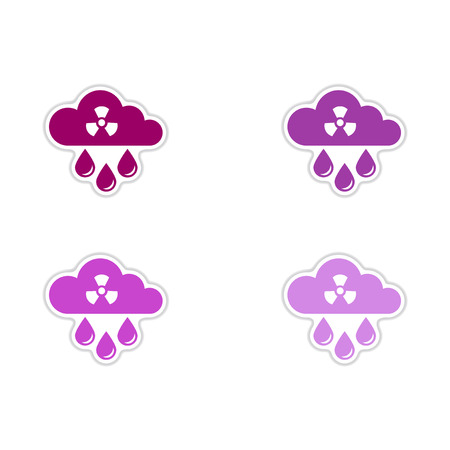 Set of paper stickers on white background  toxic rain 向量圖像