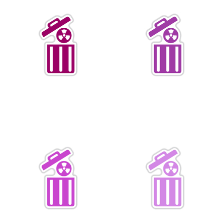 caution chemistry: Set of paper stickers on white background  radioactive waste Illustration