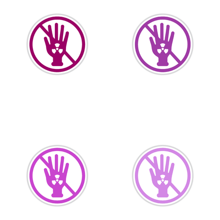 radiactividad: Set of paper stickers on white background  dangerous radioactivity
