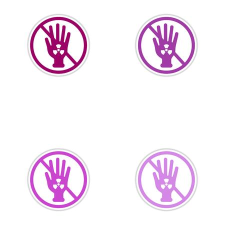 radioactivity: Set of paper stickers on white background  dangerous radioactivity