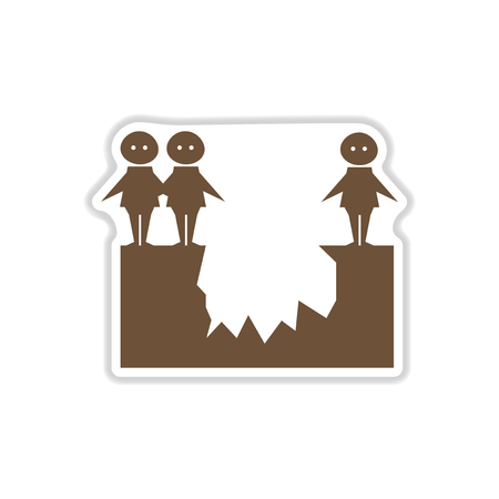 paper sticker on white background people abyss Иллюстрация