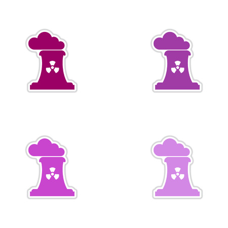 toxic: Set of paper stickers on white background toxic fumes pipe