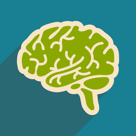 Icon of human brain in flat style Illustration