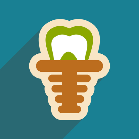 Icon of artificial tooth in flat style Illustration