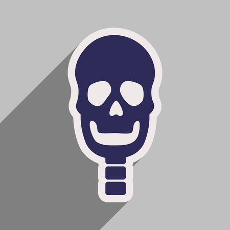 art museum: flat icon with long shadow human skull