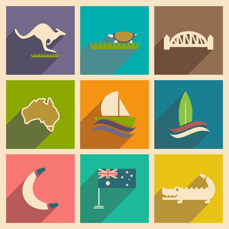 outback: Set of flat icons with long shadow Australian
