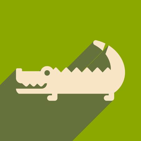 flat icon with long shadow Australian crocodile