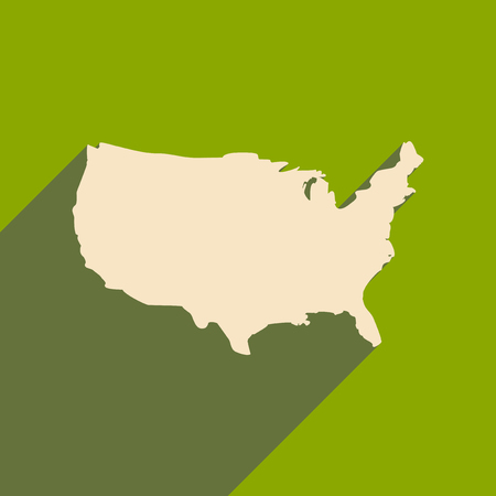american history: flat icon with long shadow map of America Illustration