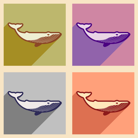 Set flat icons with long shadow great whale Illustration