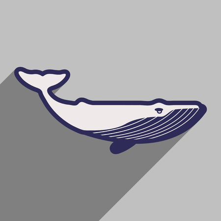flat icon with long shadow great whale