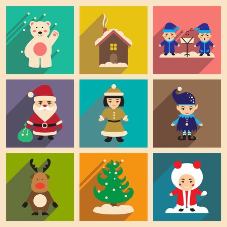 sacrifice: Set of flat icons with long shadow new Year