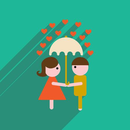 innamorati che si baciano: icona web piatto con una lunga ombra uomo donna ombrello