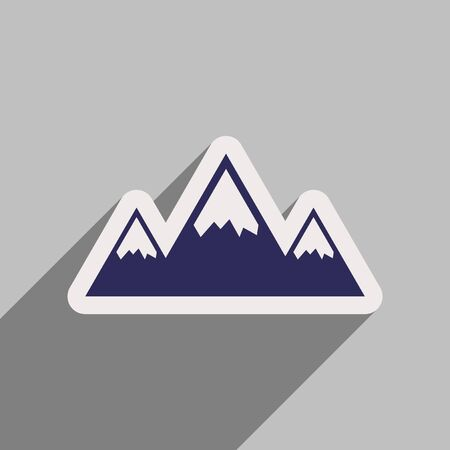 mountaintop: Flat web icon with long shadow mountains Illustration