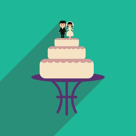 Flat web icon with long shadow wedding cake