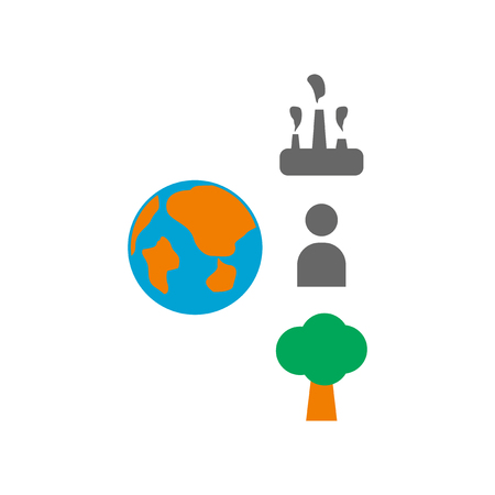 Flat web icon on white background Earth infographics Illustration