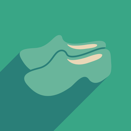 clogs: Flat web icon with long shadow wooden shoes
