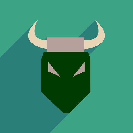 zodiac anger: Flat web icon with long shadow bull Illustration