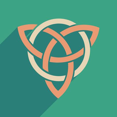 Flat web icon with long shadow celtic symbol Illustration