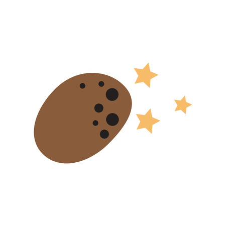 Flat web icon on white background meteorite stars