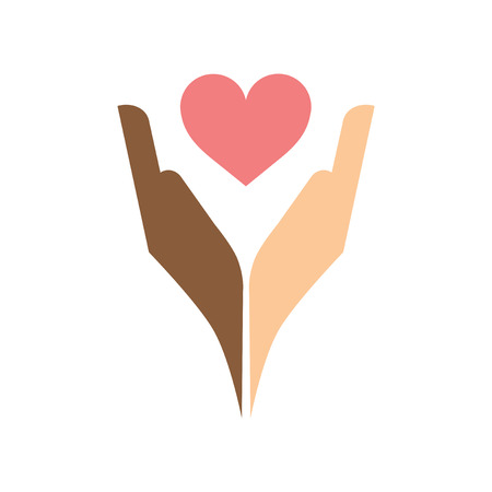 racism: Flat web icon on white background heart hands