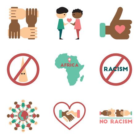 racismo: Concepto de iconos planos sobre fondo blanco hay racismo