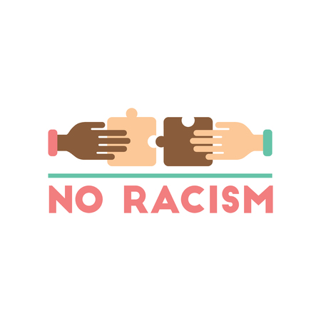 Flat web icon on white background racism fight Illustration