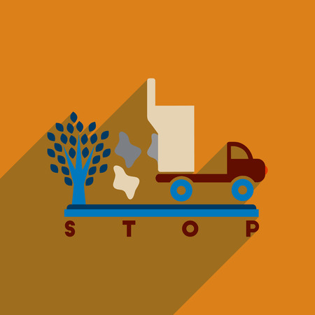 Flat web icon with long shadow no environmental pollution Illustration