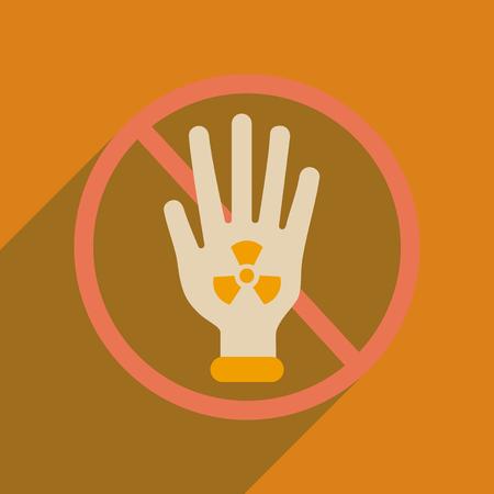 riesgo biologico: icono de banda plana con el símbolo tóxico larga sombra