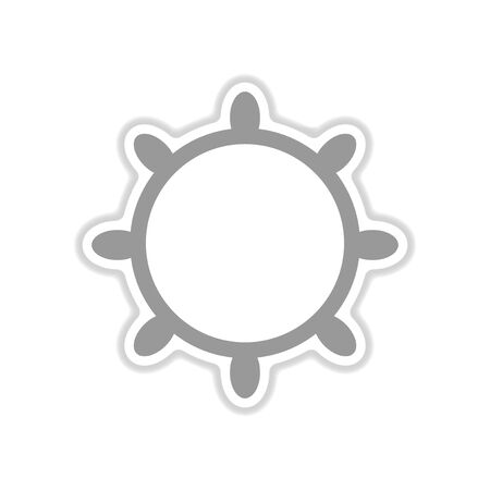navigating: paper sticker on white background ship steering wheel Illustration