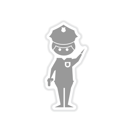 militiaman: paper sticker on white background male police officer