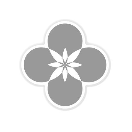 margerite: paper sticker on white  background flower silhouette