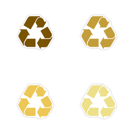environmentalist label: Set of paper stickers on white  background arrows recycling Illustration
