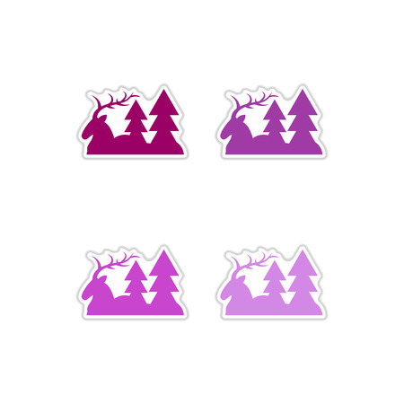 horny: Set of paper stickers on white  background deer forest