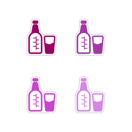 distill: Set of paper stickers on white  background  glass bottle