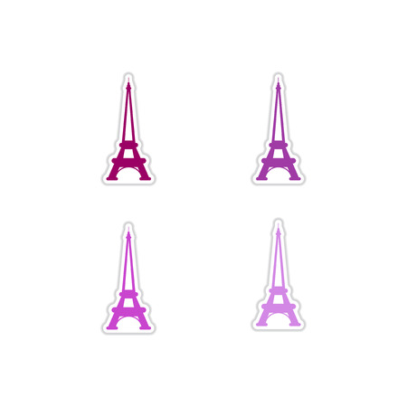 Set of paper stickers on white  background  Eiffel Tower Illustration