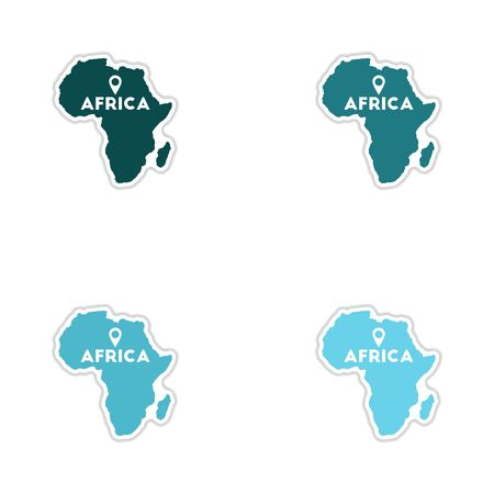 Set of paper stickers on white background Africa map