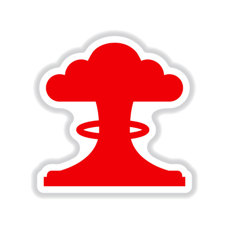 nuclear explosion: paper sticker on white background nuclear explosion