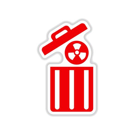 paper sticker on white background radioactive waste